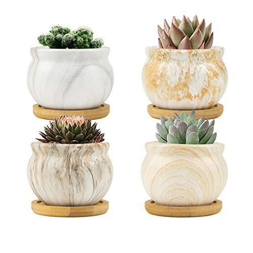 FairyLavie 8,5 cm nowoczesna sadzarka do roślin domowych, marmurkowe ceramiczne sukulenty doniczka na kwiaty z tacami bambusowymi, idealna do dekoracji biura domowego i wyjątkowy prezent dla rodziny przyjaciół kolegów, zestaw 4 szt.