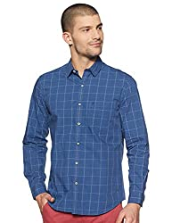 John Players Mens Checkered Slim Fit Cotton Casual Shirt