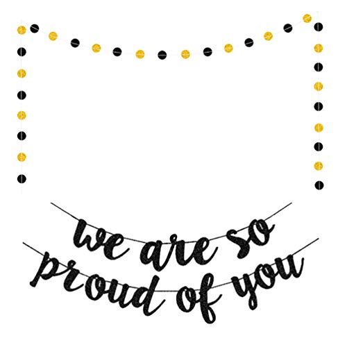 ABOOFAN Graduation Banner 2021 We Are So Proud Of You Congrats Grad Garland Garland Vintage Party Pennant Graduation Supplies For School Prom Party Front Door Photo Prop 2Pcs