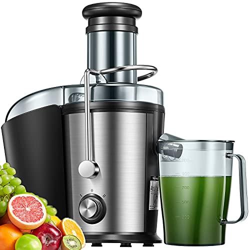 Entsafter für Obst und Gemüse, Zentrifugaler Entsafter mit 75mm Große Einfüllöffnung, 3-Mode, 2 Geschwindigkeit, Überhitzungsschutz, Edelstahlgehäuse, BPA frei
