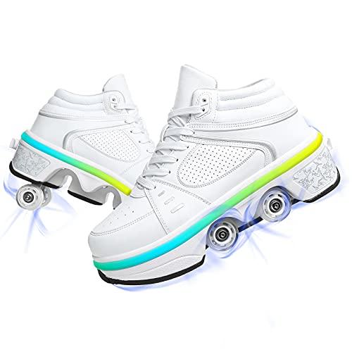 YUNWANG Multifuncionales Deformados Zapatos con Luces LED De Colores Doble Rodillo Zapatos De Skate La Mejor Opción para Deportes Al Aire Libre