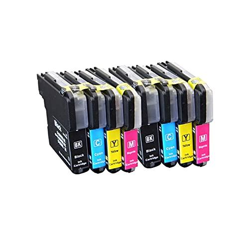 RICR Reemplazo De Cartucho De Tinta Compatible para Brother LC985 LC975BK Alto Rendimiento para Usar para MFC-J265W MFC-J410 MFC-J220 DCP-J315W LC985XL Impresora (Paquete 2 Sets