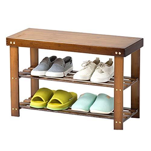 Yyqx Zapatero montado Banco de Zapatos de Dos Pisos de bambú Entrada for el hogar Estante for Zapatos Estante de Almacenamiento Simple for el Pasillo de Entrada Familiar Almacenamiento de Zapatos