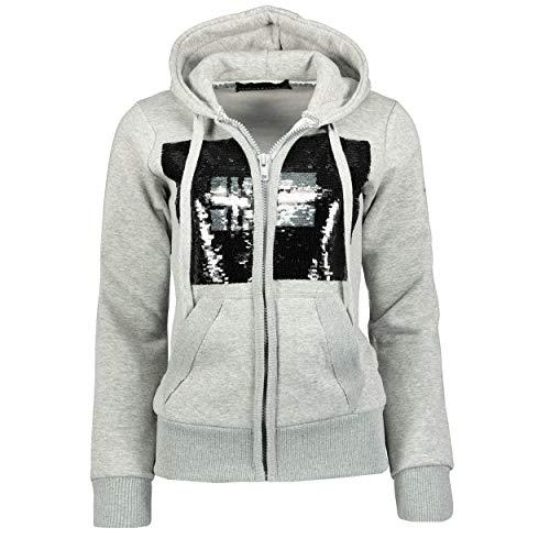 GEO NORWAY Gula Lady - Sudadera con capucha para mujer, estilo informal, manga larga, con cremallera cálida, cierre de cremallera gris/plateado XXL