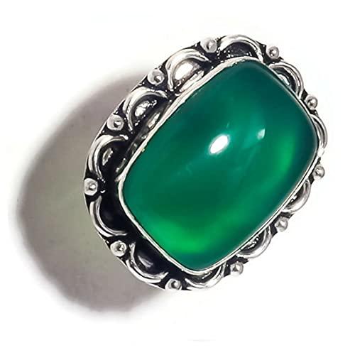 Anillo de piedra verde con forma de cabujón de ónix verde chapado en plata hecho a mano con piedra verde US-7