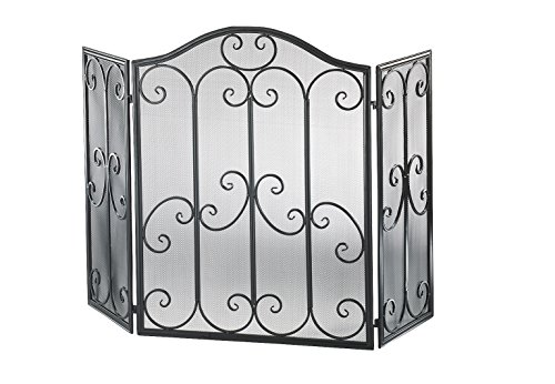 Kobolo Kaminschutzgitter Funkenschutz aus Metall schwarz Silber gebürstet 85 cm hoch