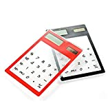 Newin Star Un paquete Calculadora transparente de la pantalla táctil solar calculadora de bolsillo 8 Dígitos ultra fino de la mini tarjeta de crédito Diseño de la calculadora de energía solar con pan