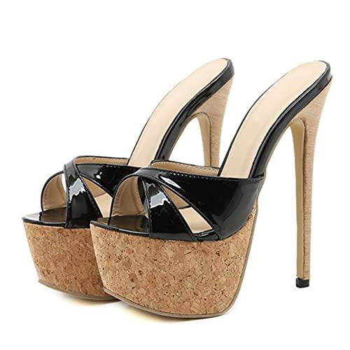 JUSTMAE 2021 Nuevo Verano Super Stiletto Tacones Altos Zapatillas Mujer Sandalias Plataforma Sexy Punta Abierta señoras Discoteca Stripper Zapatos