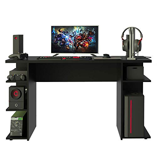 MADESA Modern Wood Computer Gaming Desk, Office Writing Workstation with Large Monitor Stand and Storage Shelves (Black)