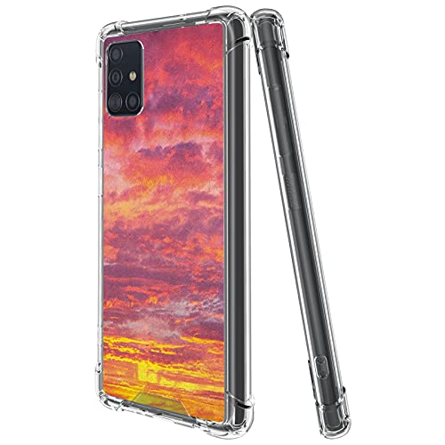guchaolu Fit for Samsung Galaxy A51 2019 Model Phone Case with Sky, Sunset Photography with Clouded Weather Tropical Scenic Hawaii