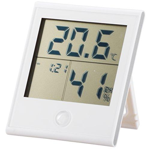 オーム電機 OHM 時計付き温湿度計 ホワイト インフルエンザ 熱中症対策 温度計 湿度計_TEM-200-W 08-0020