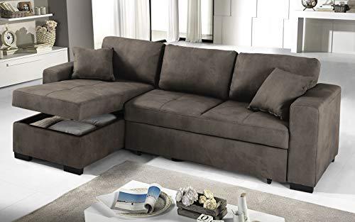 Dafne Italian Design Sofá cama esquinero de 3 plazas – Piel sintética efecto nobuck Elephant – (238 x 147 x 85 cm)