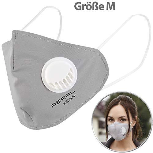 PEARL Masken: Mund-Nasen-Stoffmaske, Ventil, Nanofilter (98,9%), waschbar, Größe M (Mundschutz-Masken Stoff)