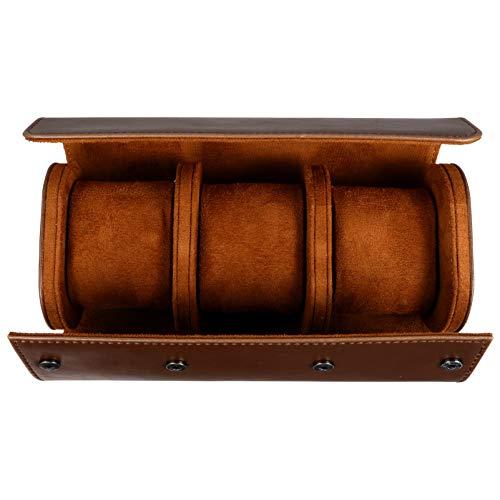 Hemobllo 3 Slots Uhrenbox Retro Pu Leder Uhrenrolle Reisetasche Elastische Uhr Veranstalter Halter Schmuck Aufbewahrungsbox für Uhr Zubehör (Braun)