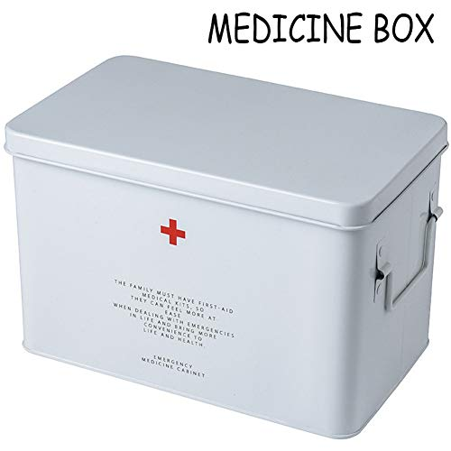 Medizin Box, Zuhause Medikamenten Organizer Hohe Kapazität Multilayer Hausapotheke Box Multifunktion Erste Hilfe Box Arzneimittelbox (Color : Red, Size : Small)