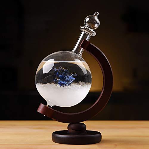 DELIBEST Sturmglas-Wettervorhersage, kreative stilvolle Wetterstation Forecaster Sturmglasflaschen-Barometer, Tischdekoration Handwerk (Blaue Rosenkugel)