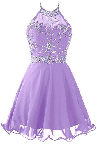 Topdress Women's Short Beaded Prom Dress Halter Homecoming Dress Backless Lavender US 12