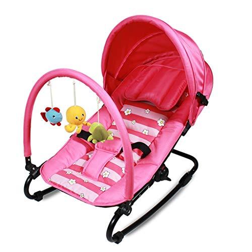 Xiao Jian- Chaise berçante bébé Berceau Shaker Confort inclinable Automne Couverture de Tissu de lit de bébé Amovible et Lavable Portant 18kg Chaise berçante bébé (Couleur : Pink)