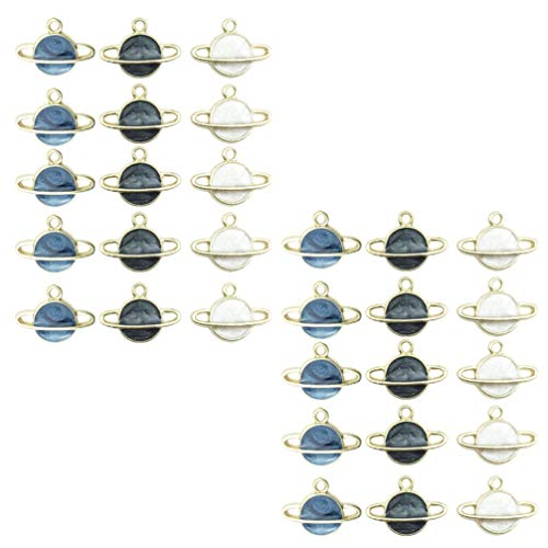 Healifty 60pcs Planet Charms Pendant Enamel Space Universe Theme Floating Charm Dangle Loose Spacer Beads Ornament For DIY Necklace Bracelet Jewelry Making