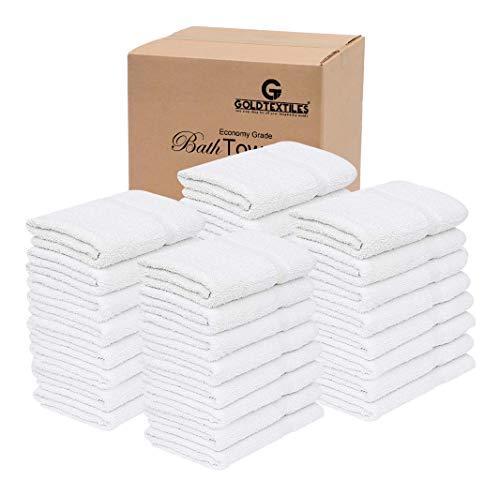 60 Pcs (5 Dozen) White Bath Towel (24x 48 Inch) Cotton Blend for Softness Easy Care-Home,spa,Resort,Hotels/Motels,Gym use (60)