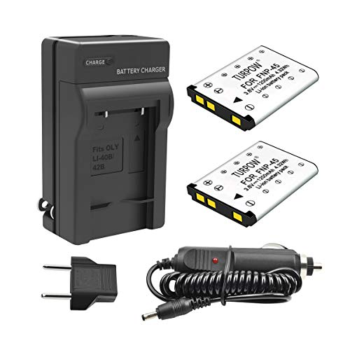 TURPOW 2 Pack NP-45 NP-45A NP-45B NP-45S Battery & Charger Compatible with Fujifilm FinePix XP20 XP30 XP60 XP70 XP80 XP90 XP120 XP130 XP140 T350 T360 T400 T500 T510 T550 T560 JX500 JX520 JX550 JX580