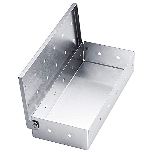 XYDZ Caja para Fumar,Cajas para Fumar Portátiles de Acero Inoxidable con Tapa con Bisagras para Parrilla de Gas Universal y Parrilla de Carbón