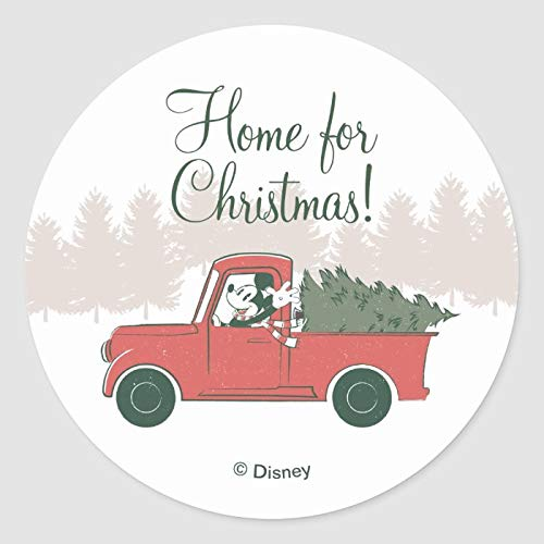 Round Label Stickers, Set of 50, Mickey Mouse Home for Christmas Classic Round Sticker, Envelope Seals Circle Stickers for Christmas Cards Gift Envelopes Boxes Party Favors, 2 Inch