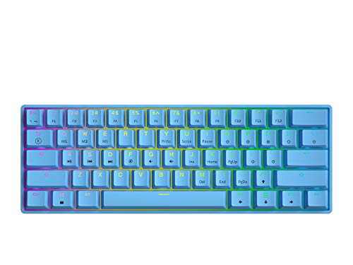 GK61 Mechanische Gaming-Tastatur – 61 Tasten RGB beleuchtete LED-Hintergrundbeleuchtung, PC/Mac Gamer (Gateron Optical Yellow, Blau)