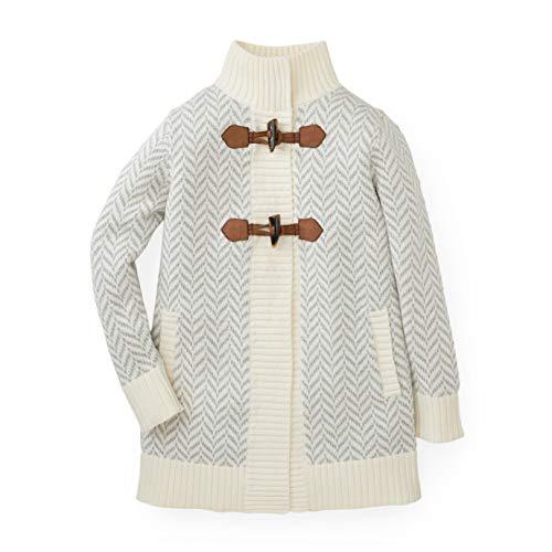 Hope & Henry Girls' Grey Herringbone Sweater Coat