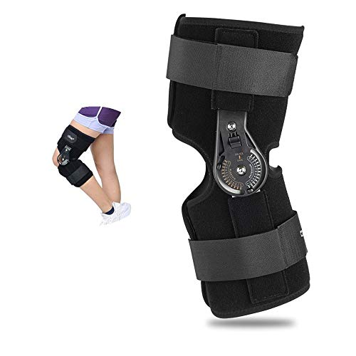 Qkiss Knieorthese Unterstützung, Einstellbare Kniestütze Knieschutz, Hoher Komfort Feste Wangenknochen, Schmerzlinderung Klettern Joggen Volleyball (L)