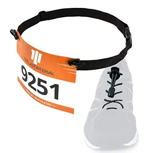 Race Belt & No Tie Shoelaces - Running, Triathlon Kit (Black Belt, Black Lace)