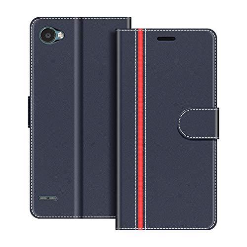 COODIO Funda LG Q6 con Tapa, Funda Movil LG Q6, Funda Libro LG Q6 Carcasa Magnético Funda para LG Q6, Azul Oscuro/Rojo