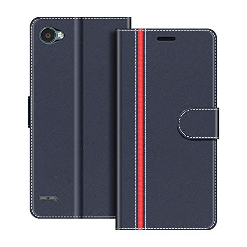 COODIO Handyhülle für LG Q6 Handy Hülle, LG Q6 Hülle Leder Handytasche für LG Q6 Klapphülle Tasche, Dunkel Blau/Rot