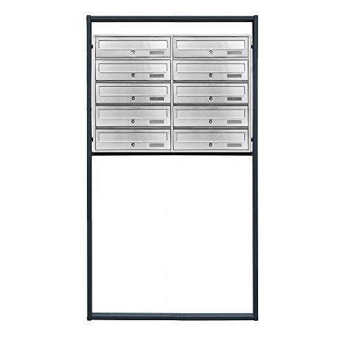 BITUXX® Design Edelstahl Doppel Stand-Briefkastenanlage Postkasten Letterbox Mailbox mit 10 Fächer und Dunkelgrauen Standrohren - 3