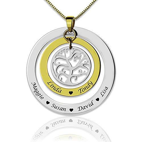 Bokning Collar con Nombre de árbol Familiar Personalizable Grabado en Plata de Ley 925 y Chapado en Oro para Abuela, Madre