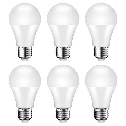 Lampadina LED E27, Equivalente 75W, A60 950 lumen, 3000K - Luce Bianca Calda, Non Dimmerabile, Pacco da 6 [Classe di efficienza energetica A+]