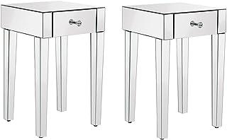 Lot de 2 Tables de Chevets Miroir en Verre Meuble de Rangement, 1 Tiroir sur Salon, Chambre, Bureau, 40 x 40 x 65 cm