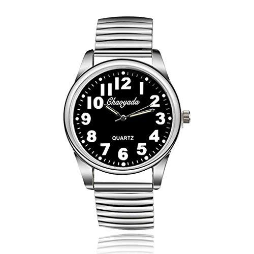 Fashion Watch Original Elastic Full Steel Bracelet Quartz Watches Men Women Unisex Wristwatches (Black)