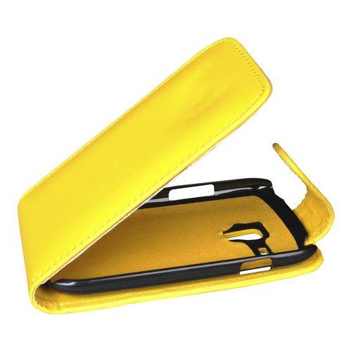 Mobilfunk Krause Flip Case Etui Handytasche Tasche Hülle für Samsung GT-I8200 / I8200 (Gelb)