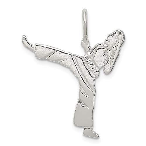 Halskette mit Karate-Anhänger, 925er Sterlingsilber, massiv, poliert, Schmuck Geschenke für Frauen