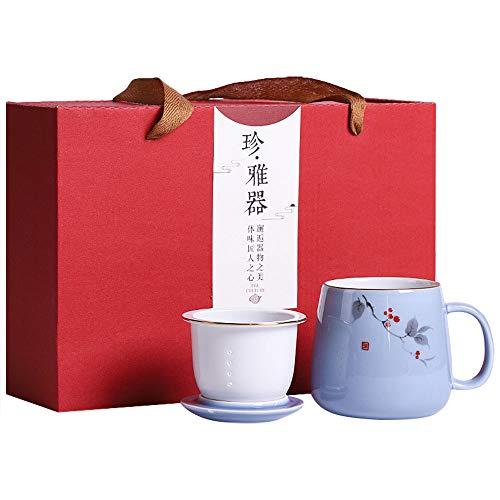 G-LIKE Porzellan Teetasse 3er Set Geschenkbox - Traditionelles Chinesisches Teegeschirr Persönliche Tasse Glasur Keramik Trinkgefäß mit Deckel und Sieb Geschenk für Damen Herren (Blau)