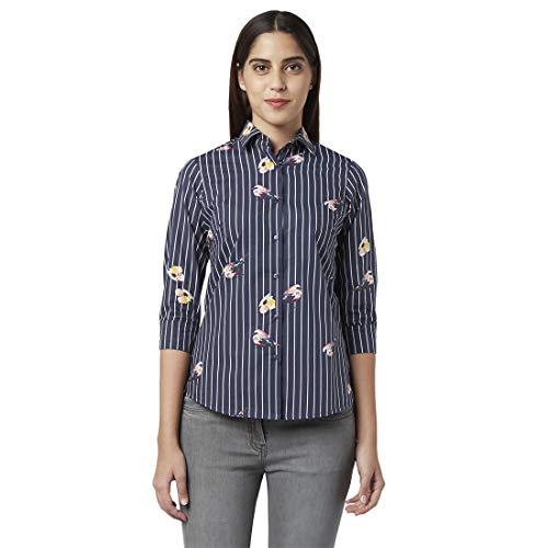 Park Avenue Woman Solid Black Cotton Regular Fit Regular Collar...