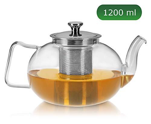 praxxim - 1200ml - Tropffreie Glas Teekanne mit Siebeinsatz - Edle Kanne für gemütlichen Tee Genuss - Hitzefeste Glaskanne mit Edelstahl Sieb - Hochwertiger Teebereiter für pures Geschmackserlebnis