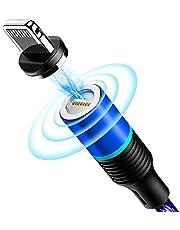 CAFELE マグネットiPhone 充電ケーブル LEDランプ付き 360度回転 高耐久ナイロン編み 磁石 防塵 着脱式 Lightningに対応 2m (ブラック)