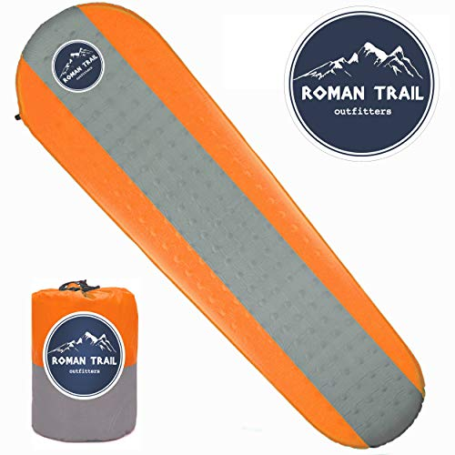 Western Owl Outfitters Best Self Inflating Sleeping pad Lightweight Camping Foam pad- Best for Camping Backpacking & Hiking. R Value of 4.9 - Inflatable Camping Mattress (Orange, Large)