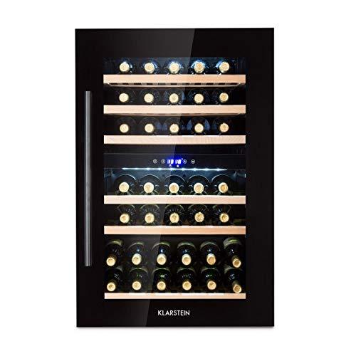Klarstein Vinsider 35D Onyx Edition Weinkühlschrank mit Glastür - Weintemperierschrank, Einbaugerät, 41 Weinflaschen, 5-22 °C, LED-Display, 6 Böden, Innenraumbeleuchtung, schwarz