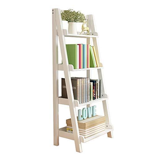 YINUO American racks salon chambre coin stand de fleurs simple étagère trapézoïdale à cinq couches rack en bois massif bibliothèque nordique d'atterrissage Taille: 44x36x140cm (Color : White)