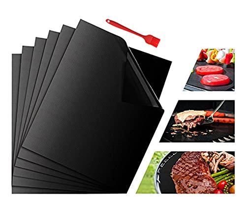 Kaiyingxin Juego de 5 alfombrillas para barbacoa + 1 cepillo para barbacoa, reutilizables, antiadherentes, sin PFOA, para parrilla de gas, carbón, horno y parrilla eléctrica, accesorios para barbacoa