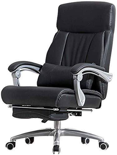 Mscxj Computer Stuhl Home Computer Drehstuhl PU-Leder-Soft-Built-in Lendenkissen Premium-Materialien Bequeme Haltung Ausziehbare Fußstützen Leder (Color : Black)