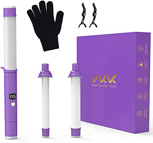 VKK Rizador Pelo Planchas, Profesional Rizadoras Barras Recambiable 3 en 1 Rizador de Pelo Pantalla LCD, Guante Resistente al Calor, Temperatura Ajustable